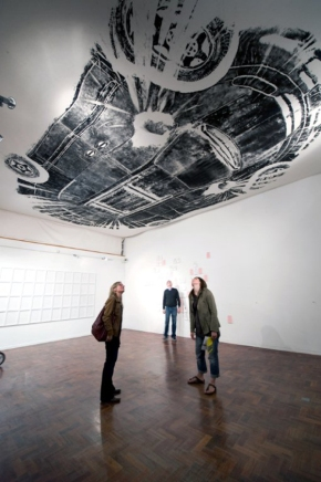 If the gallery walls aren't big enough, use the ceiling…