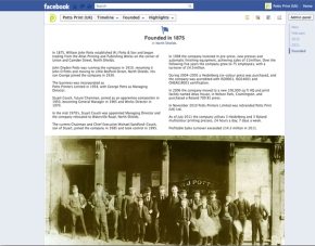 Facebook Timeline Tells Story of Potts Print (UK) from 1875 to2012