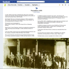 Facebook Timeline Tells Story of Potts Print (UK) from 1875 to 2012