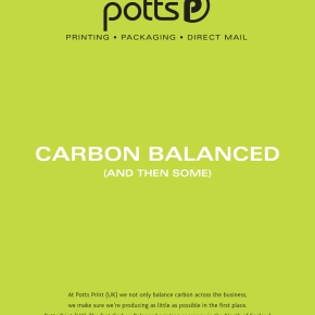 Press Release: Potts Print (UK) Achieves 'Carbon Balanced Publication Printing Company' Status