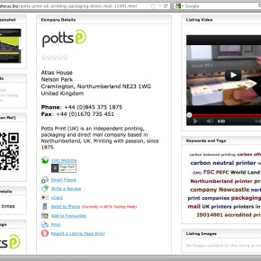 Printing Focus listing and updated Freeindex page for Potts Print (UK)