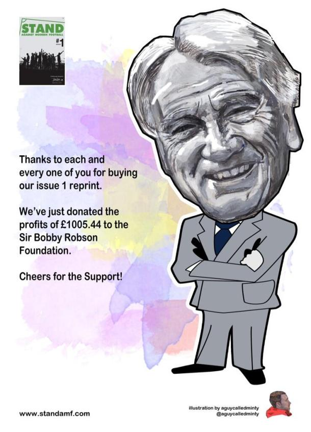 STAND donate £1000 to Sir Bobby Robson Foundation
