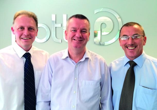 Left to Right: Geoff Armstrong, Director, Bakershaw Print; Mark Devine, Commercial Director, Potts Print (UK); Barry Billingham, Managing Director, Bakershaw Print.