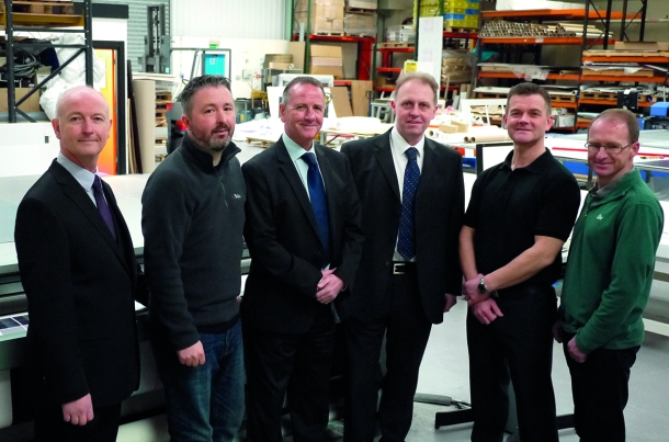 (L-R) Iain McDougal, Dan Tarbit, Frazer Varty, Geoff Armstrong, Keith McHugh and Jonathan Mobberley  are the newly launched digital and large format printing division at Potts Print UK.