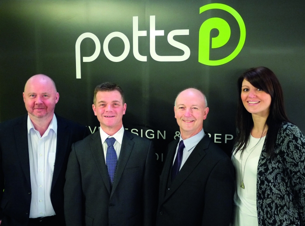 (L-R) Shaun Johnson, Managing Director - Potts Print UK; Keith McHugh, Owner - Digital XL;  Iain McDougal, Owner - Digital XL; Steph Tobin, Finance Director - Potts Print UK.